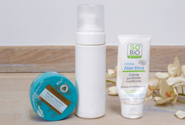 produits finis empties bio naturel beauté cosmétiques test avis mousse nettoyante visage avril crème hydratante matifiante so bio etic hydra aloe vera sanoflore masque magnifica